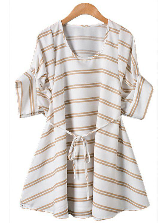 new Stripe Tie-Up Short Sleeve Dress - COFFEE ONE SIZE(FIT SIZE XS TO M)