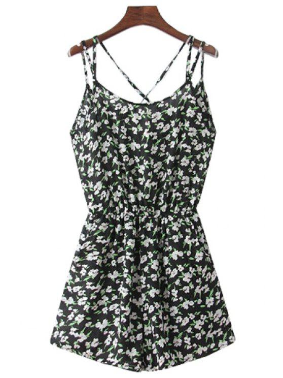 trendy Tiny Floral Spaghetti Straps Romper - BLACK ONE SIZE(FIT SIZE XS TO M)