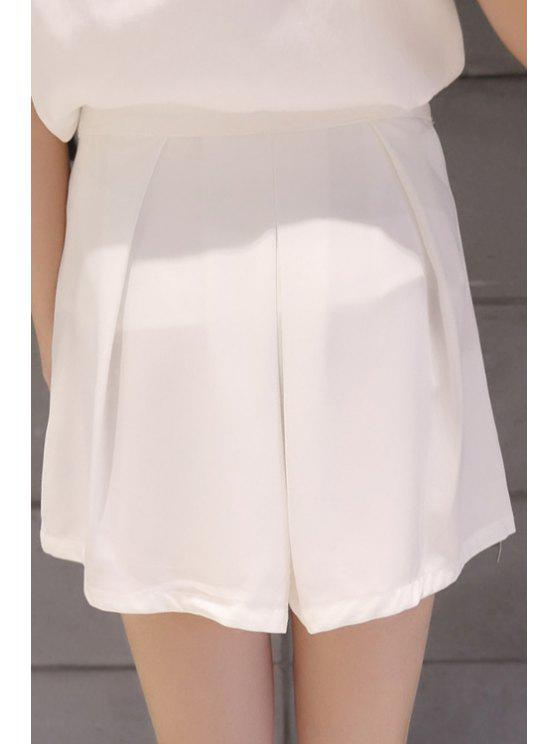 shops Solid Color Ruffle Loose-Fitting Shorts - WHITE S