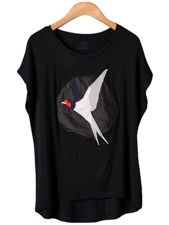latest Swallow Pattern Embroidery Short Sleeve T-Shirt - BLACK ONE SIZE(FIT SIZE XS TO M)