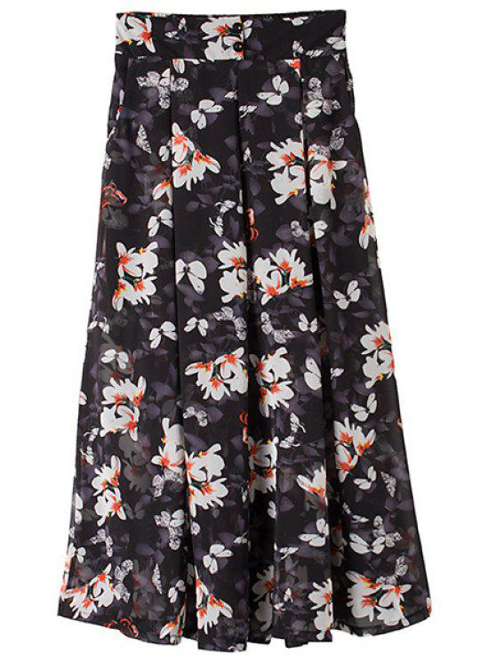 buy Floral Butterfly Print Button Pants - AS THE PICTURE ONE SIZE(FIT SIZE XS TO M)