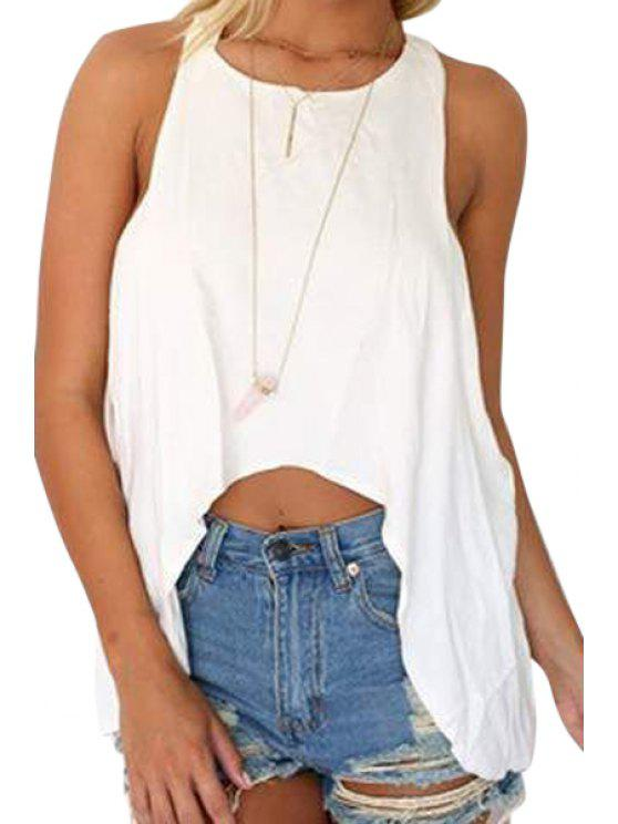 latest White Irregular Hem Tank Top - WHITE S