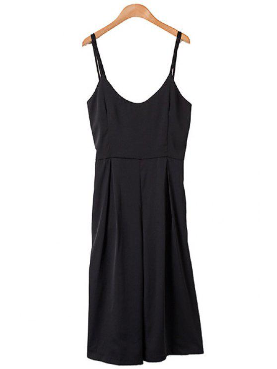 online Spaghetti Strap Solid Color Backless Tie-Up Overall - AS THE PICTURE M