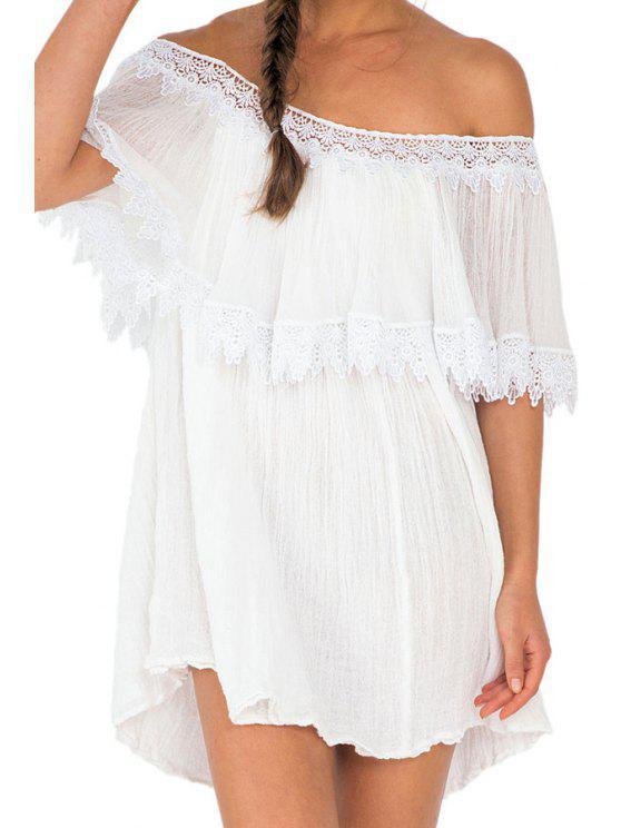hot White with Lace Slash Neck Dress - WHITE S