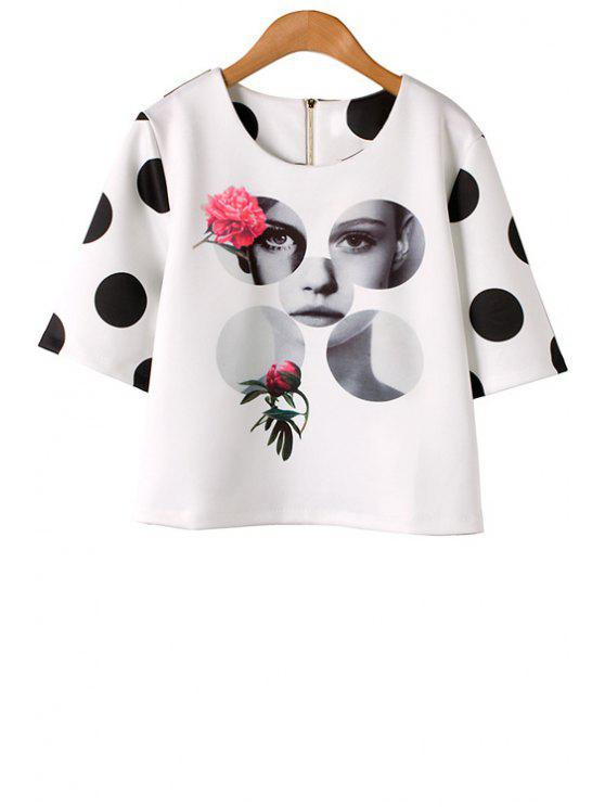fancy Polka Dot Floral Figure Print T-Shirt - AS THE PICTURE S