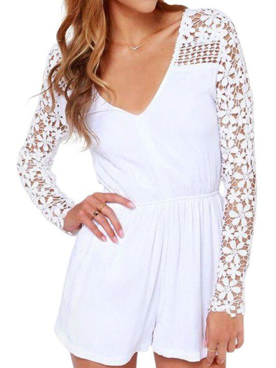 chic White with Lace Long Sleeve Romper - WHITE S