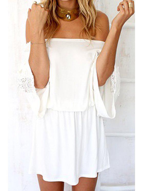 outfit White Crochet Slash Neck Dress - WHITE XL