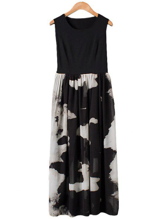 chic Ink Color Block Sleeveless Maxi Dress - AS THE PICTURE L