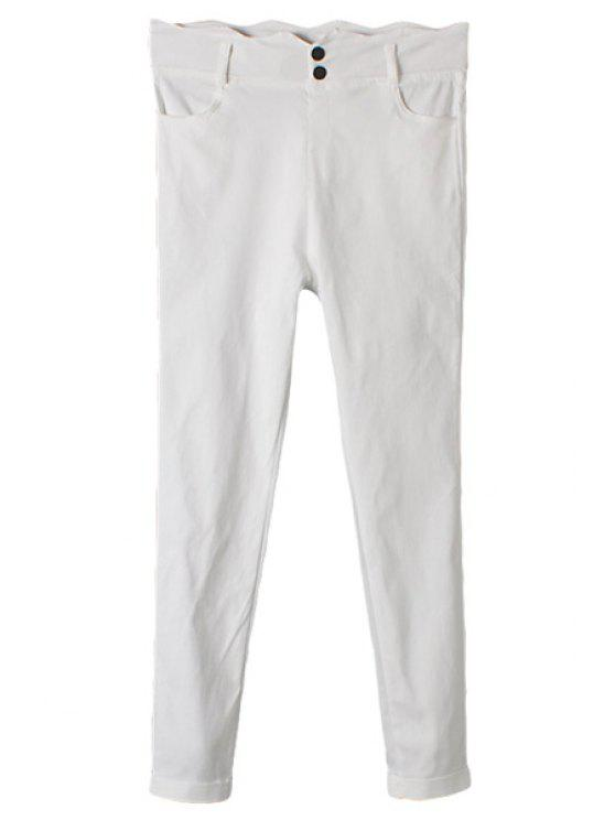 ladies Solid Color Two Buttons Pants - WHITE M