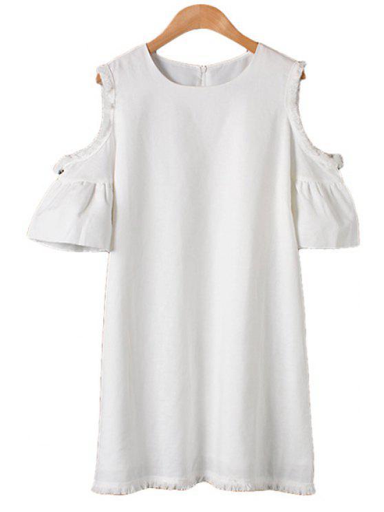 outfit Solid Color Fringe Off-The-Shoulder Dress - WHITE M