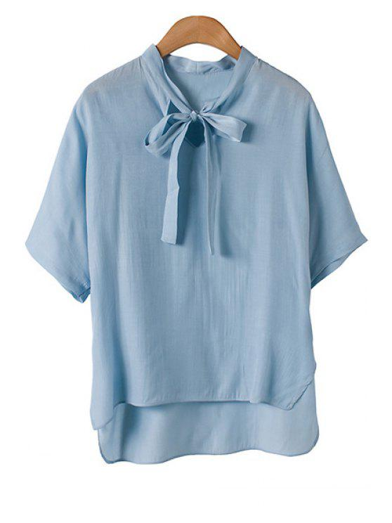 womens Bow Tie Collar Solid Color Half Sleeve Shirt - BLUE ONE SIZE(FIT SIZE XS TO M)