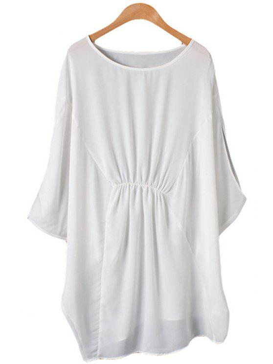 women Solid Color Ruffle Batwing Sleeve Blouse - WHITE ONE SIZE(FIT SIZE XS TO M)