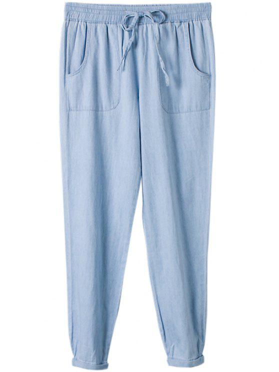 new Solid Color Bleach Wash Elastic Waist Jeans - AS THE PICTURE S