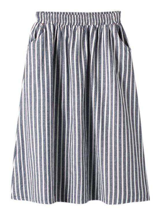 lady Stripe Elastic Waist A-Line Skirt - BLUE ONE SIZE(FIT SIZE XS TO M)