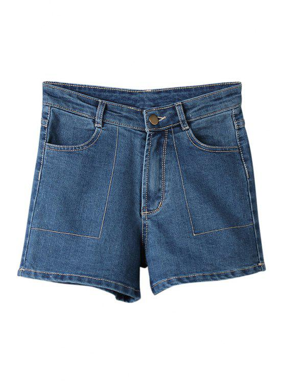 trendy Pocket Bleach Wash Denim Shorts - AS THE PICTURE 36