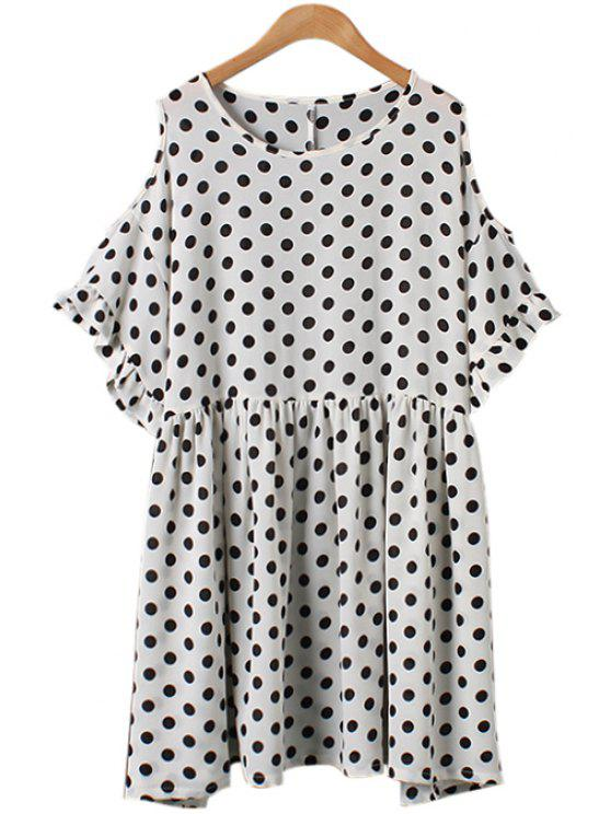 fashion Polka Dot Off-The-Shoulder Flounce Dress - WHITE ONE SIZE(FIT SIZE XS TO M)