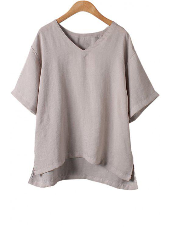 lady Solid Color High Low Short Sleeve T-Shirt - GRAY ONE SIZE(FIT SIZE XS TO M)