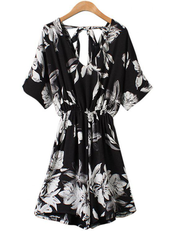women's White Floral Print Half Sleeve Romper - AS THE PICTURE ONE SIZE(FIT SIZE XS TO M)