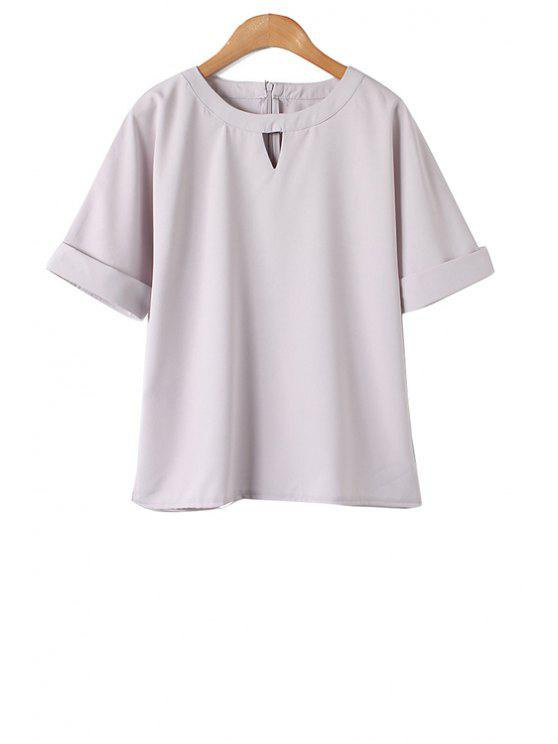 chic Jewel Neck Solid Color Side Slit T-Shirt - GRAY S