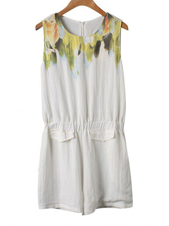 women's Color Block Print Sleeveless Romper - AS THE PICTURE M