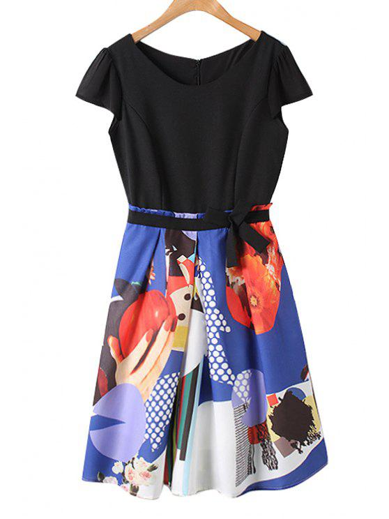 sale Color Block Print Bowknot Splicing Dress - AS THE PICTURE S