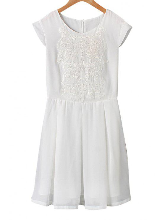 new Solid Color Embroidery Short Sleeve Dress - AS THE PICTURE S