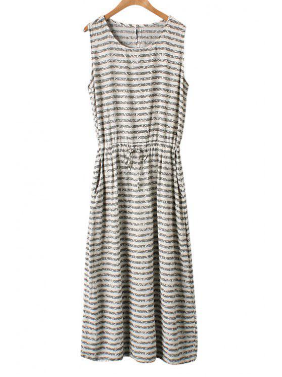 fancy Stripe Tie-Up Sleeveless Maxi Dress - ARMY GREEN ONE SIZE(FIT SIZE XS TO M)