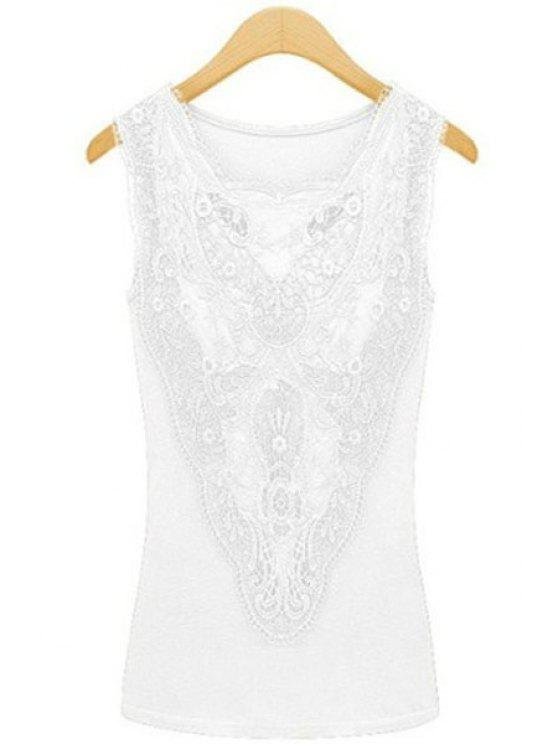 hot Lace Spliced Solid Color Tank Top - WHITE M