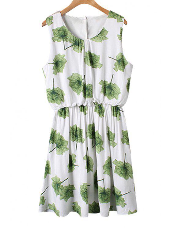 womens Green Floral Print Ruffle Sleeveless Dress - GREEN M