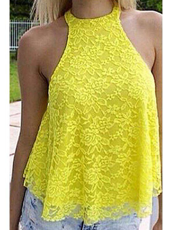 shops Yellow Lace Tank Top - YELLOW S