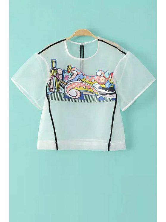 new Print Mesh See-Through Short Sleeve T-Shirt - TRANSPARENT S