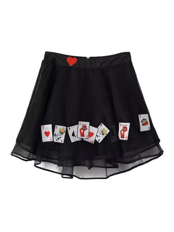 fashion Poker Print Voile Zipper Fly Skirt - BLACK S
