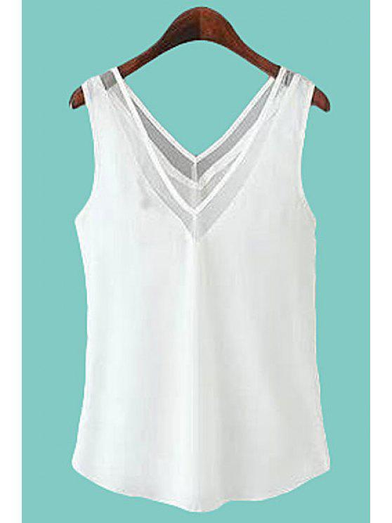 affordable V-Neck Voile Spliced Tank Top - WHITE L