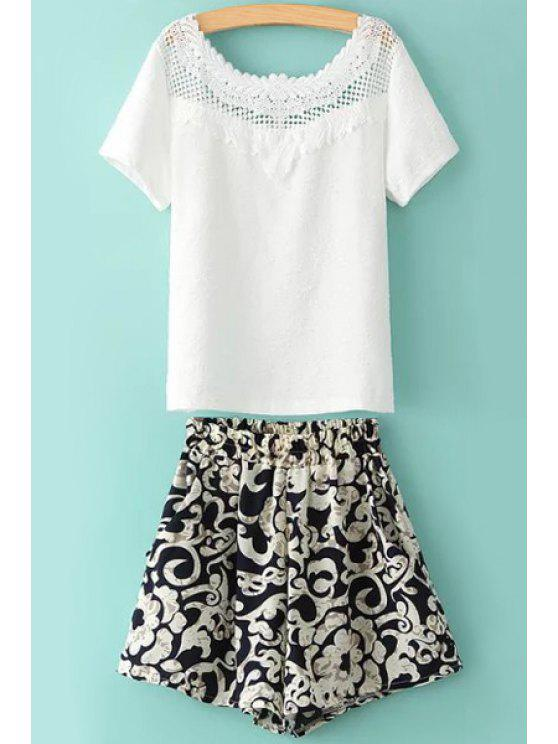 new Solid Color Lace Splicing T-Shirt + Print Shorts - WHITE S