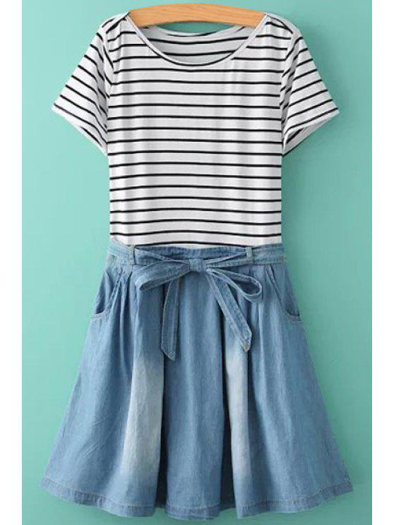 lady Stripe Denim Splicing Ruffle Short Sleeve Dress - BLUE AND WHITE S