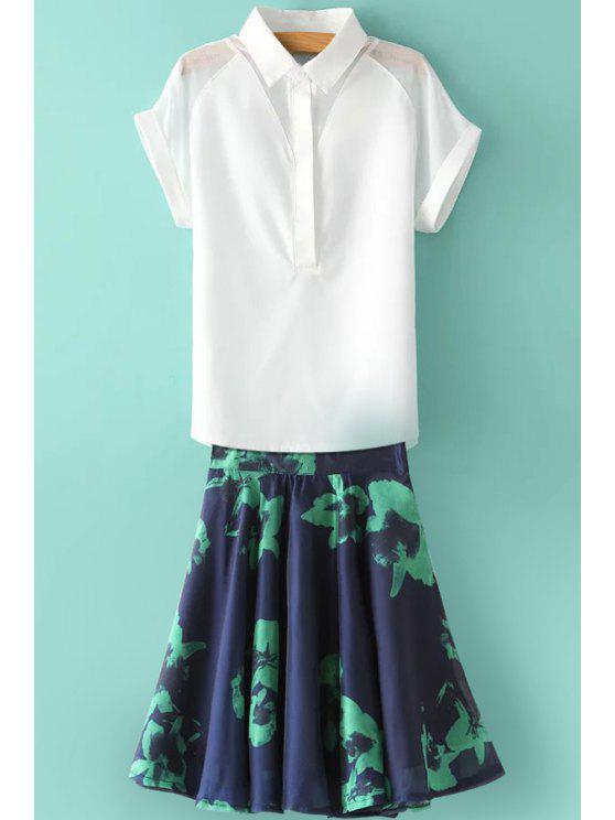 unique Solid Color See-Through Short Sleeve Shirt + Print Skirt - BLUE AND WHITE S