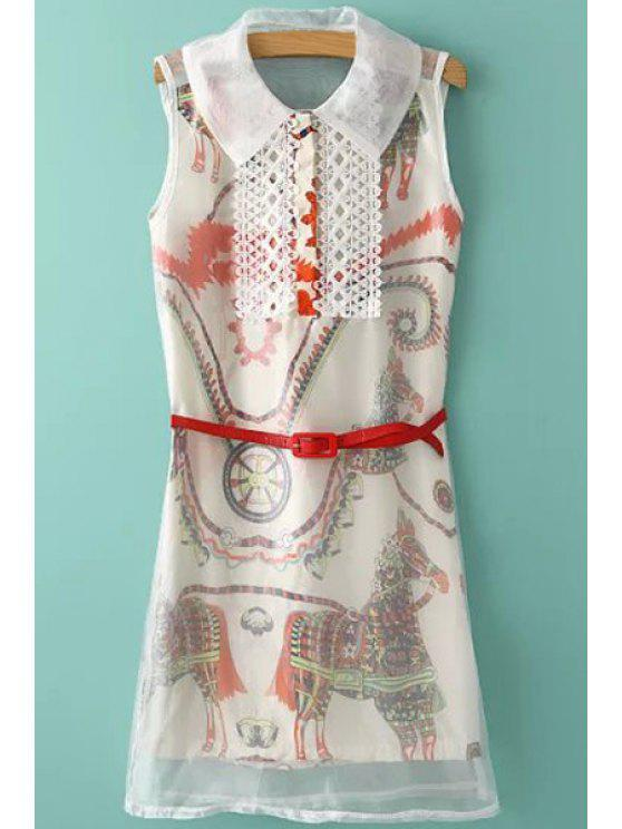 lady Colorful Horse Print Lace Splicing Voile Dress - OFF-WHITE S