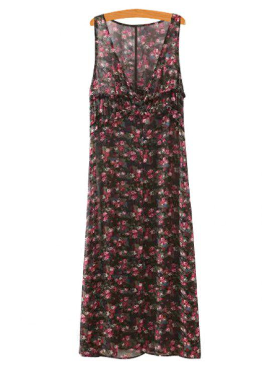 women Sleeveless Tiny Floral Maxi Dress - RED S