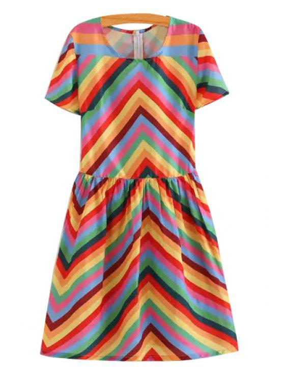 outfits Colorful Zig Zag Short Sleeve Dress - COLORFUL S