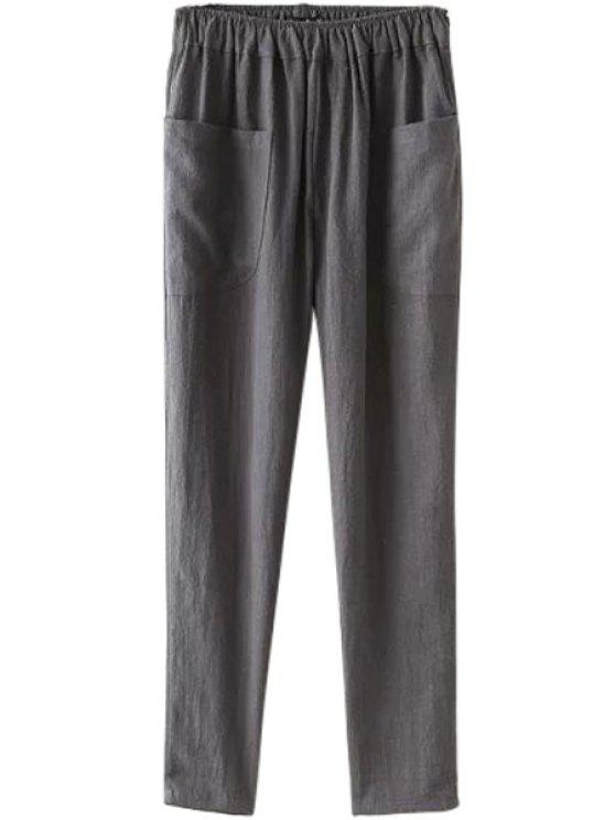 fancy Solid Color Two Pockets Elastic Waist Pants - GRAY ONE SIZE(FIT SIZE XS TO M)