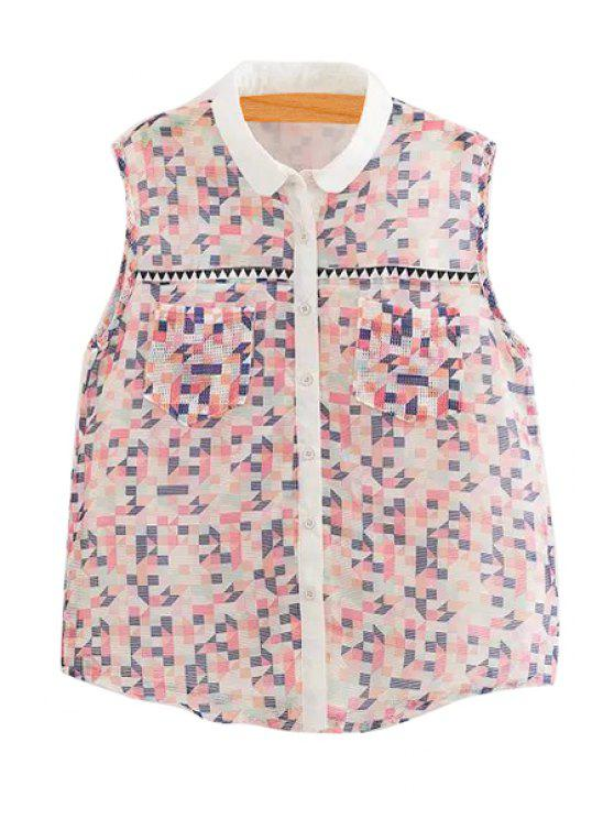 unique Colorful Checked Print Sleeveless Shirt - COLORMIX S