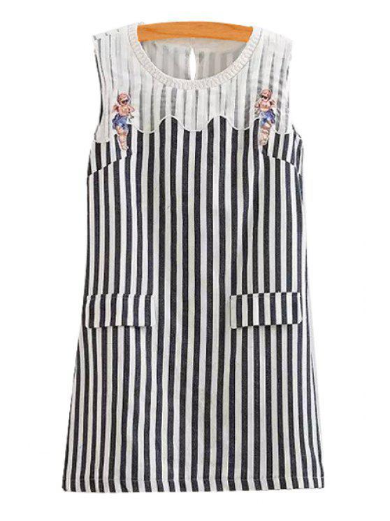 fancy Stripe Spliced Scoop Neck Sundress - WHITE AND BLACK S