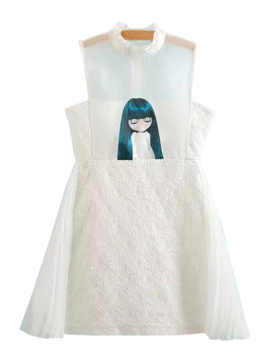 best Girl Pattern Sleeveless A-Line Dress - WHITE XS