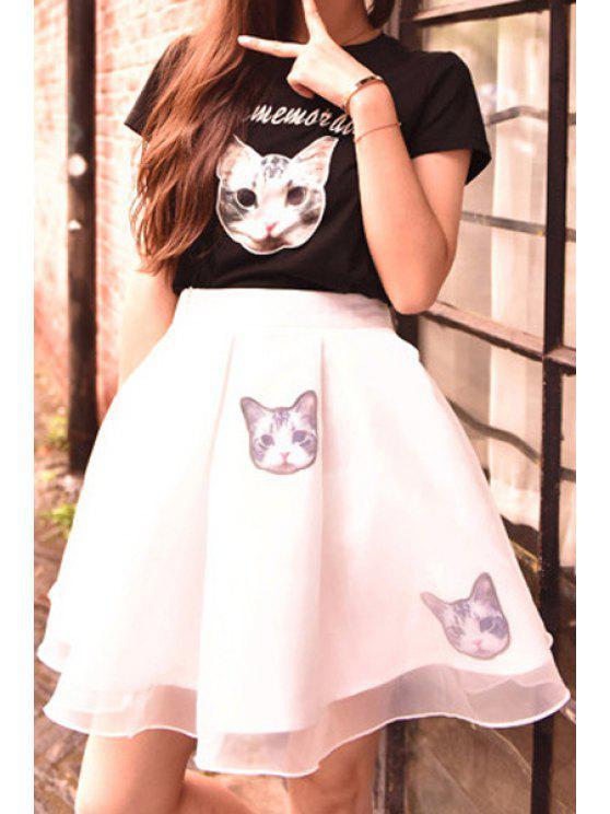 womens Cat Letter Print Short Sleeve T-Shirt + Skirt - WHITE AND BLACK M