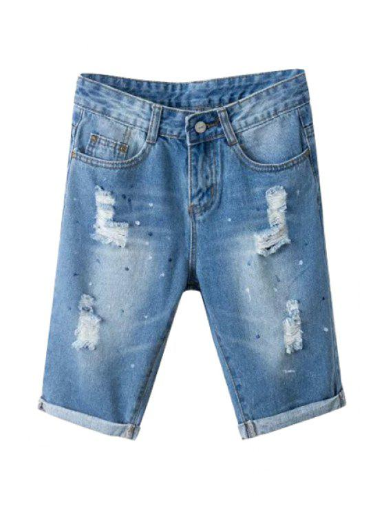 buy Broken Hole Denim Fifth Jeans - BLUE 25