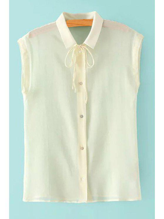 lady Solid Color Sleeveless Shirt Neck Shirt - WHITE ONE SIZE(FIT SIZE XS TO M)