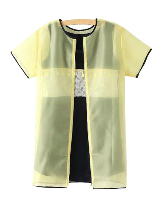 shop Splicing Zipper Short Sleeve Dress - YELLOW S