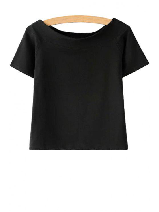 women Slash Neck Solid Color Short Sleeve T-Shirt - BLACK S