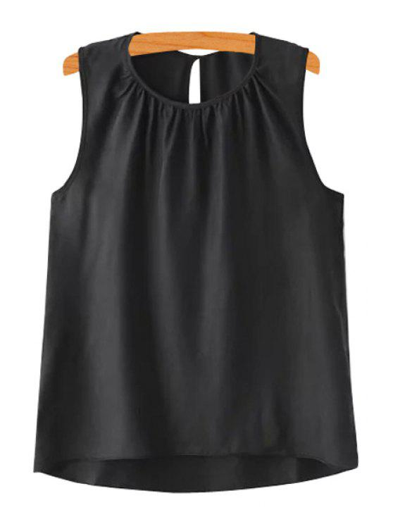 new Solid Color High Low Tank Top - BLACK S