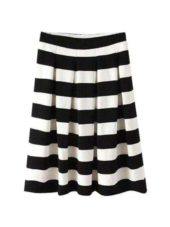 shop Stripe Pleated A-Line Skirt - STRIPE S